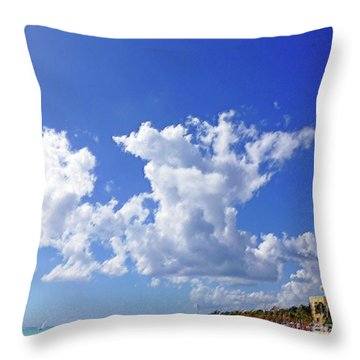 Throw Pillow featuring the digital art M Day At The Beach by Francesca Mackenney