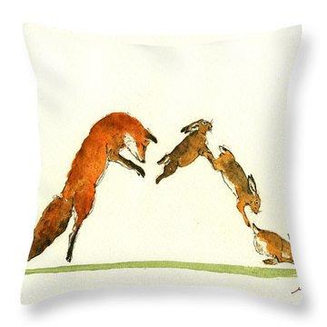 M Letter Woodland Animals Throw Pillow