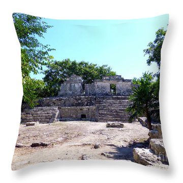 Throw Pillow featuring the photograph M Ruin by Francesca Mackenney