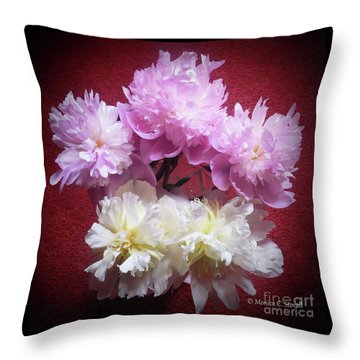 M Shades Of Pink Flowers Collection No. P73 Throw Pillow