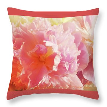 M Shades Of Pink Flowers Collection No. P74 Throw Pillow