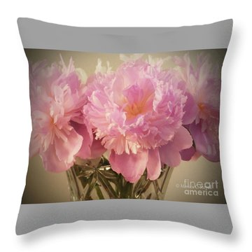 M Shades Of Pink Flowers Collection No. P75 Throw Pillow