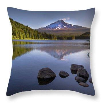 M T Hood Sunrise At Lake Trillium Throw Pillow