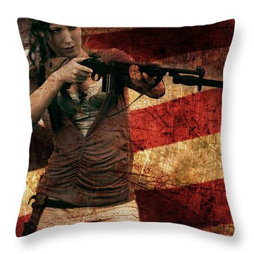 M1 Carbine On American Flag Throw Pillow