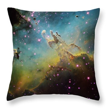 M16 The Eagle Nebula Throw Pillow by Ken Crawford