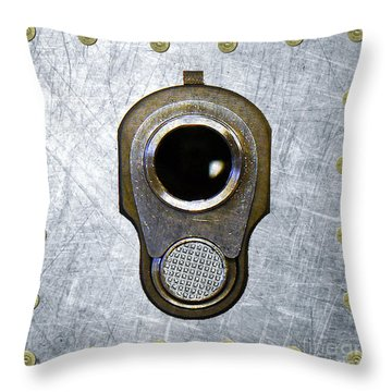 M1911 45 Framed With 45 Case Heads Throw Pillow by M L C