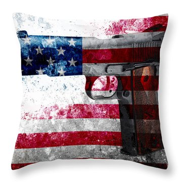 M1911 Colt 45 And American Flag On Distressed Metal Sheet Throw Pillow
