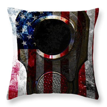 M1911 Colt 45 Muzzle And American Flag On Distressed Metal Sheet Throw Pillow