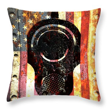 M1911 Colt 45 On Rusted American Flag Throw Pillow