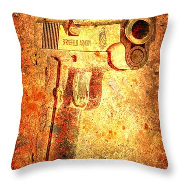 M1911 Muzzle On Rusted Background 3/4 View Throw Pillow