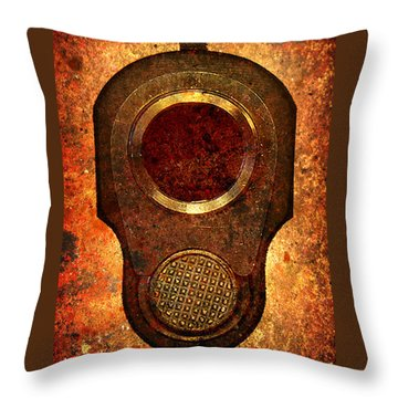 M1911 Muzzle On Rusted Background Throw Pillow