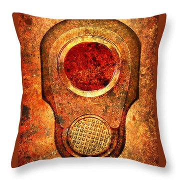 M1911 Muzzle On Rusted Background - With Red Filter Throw Pillow