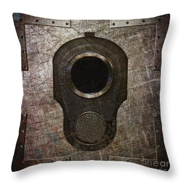 M1911 Muzzle On Rusted Riveted Metal Dark Throw Pillow