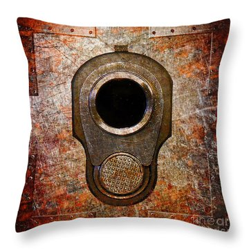 M1911 Muzzle On Rusted Riveted Metal Throw Pillow