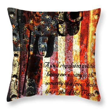 M1911 Pistol And Second Amendment On Rusted American Flag Throw Pillow