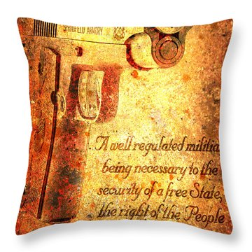 M1911 Pistol And Second Amendment On Rusted Overlay Throw Pillow