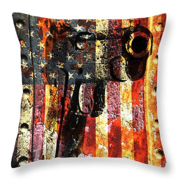 M1911 Silhouette On Rusted American Flag Throw Pillow