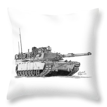 M1a1 A Company Commander Tank Throw Pillow