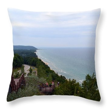 M22 Scenic Lake Michigan Overlook  Throw Pillow by Michelle Calkins