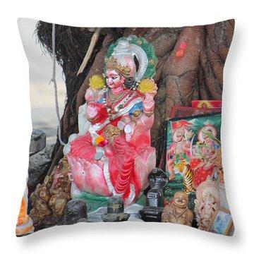 Ma Durga Tree Temple, Haridwar Throw Pillow