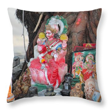 Ma Durga Tree Temple, Haridwar Throw Pillow by Jennifer Mazzucco