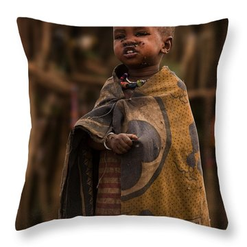 Maasai Boy Throw Pillow by Adam Romanowicz