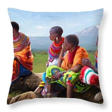 Samburu In Maasai Land Throw Pillow