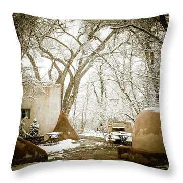 Throw Pillow featuring the photograph Mabel Luhan Dodge Home Exterior by Marilyn Hunt