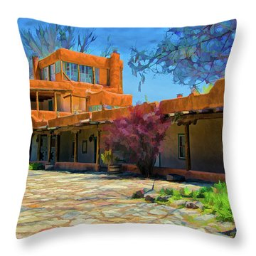 Mabel's Courtyard As Oil Throw Pillow