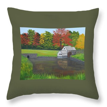 Mabry Grist Mill  Throw Pillow by Ruth  Housley