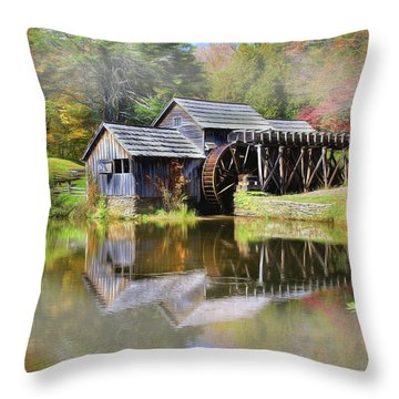 Mabry Grist Mill Throw Pillow