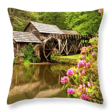 Mabry Mill Throw Pillow by Rebecca Hiatt