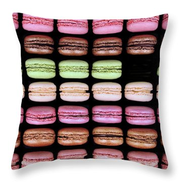 Throw Pillow featuring the photograph Macarons - One Missing by Nikolyn McDonald
