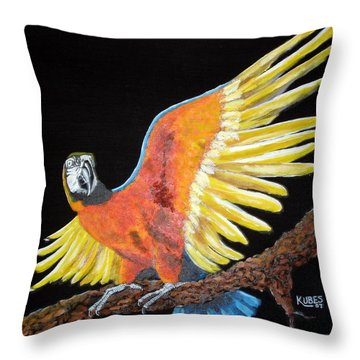 Macaw - Wingin' It Throw Pillow by Susan Kubes