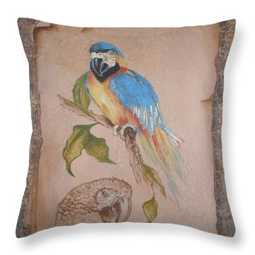 Throw Pillow featuring the painting Macaw by Betty-Anne McDonald