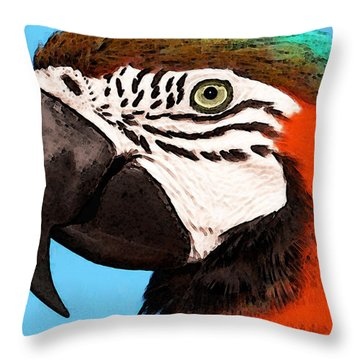 Macaw Bird - Rain Forest Royalty Throw Pillow by Sharon Cummings