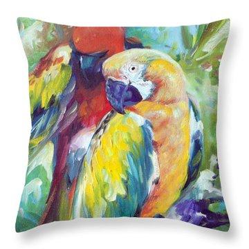 Macaw Pair Throw Pillow
