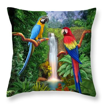 Macaw Tropical Parrots Throw Pillow by Glenn Holbrook