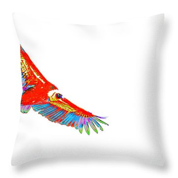 Macaw Vulture Throw Pillow by Richard Patmore