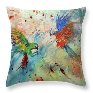 Macaws In Flight Throw Pillow