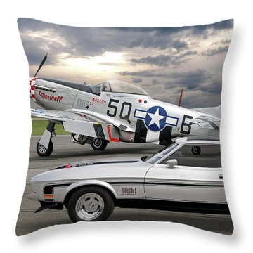 Mach 1 Mustang With P51  Throw Pillow