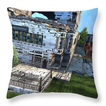 Machine Factory Throw Pillow by Hal Tenny