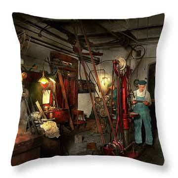 Throw Pillow featuring the photograph Machinist - Government Approved 1919 by Mike Savad