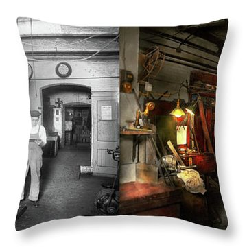 Throw Pillow featuring the photograph Machinist - Government Approved 1919 - Side By Side by Mike Savad