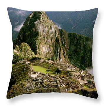 Machu Picchu At Sunrise Throw Pillow