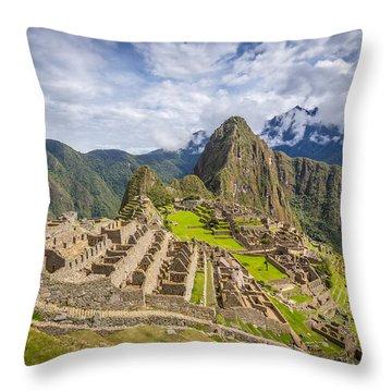 Throw Pillow featuring the photograph Machu Picchu Peru by Gary Gillette