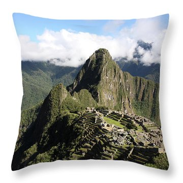Throw Pillow featuring the photograph Machu Picchu Ruin, Peru by Aidan Moran