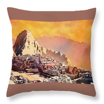 Throw Pillow featuring the painting Machu Picchu Sunset by Ryan Fox