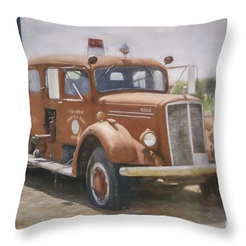 Mack Fire Truck  Throw Pillow