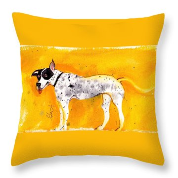 Throw Pillow featuring the painting Mack The Pit/dalmatian by Gertrude Palmer